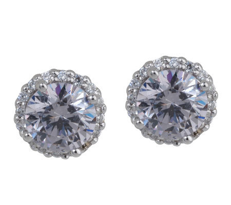 epiphany platinum clad diamonique grey stud earrings qvc