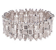 Melania Basket Weave Design Crystal Stretch Bracelet - J153103