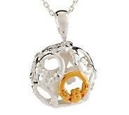 Solvar Sterling Silver 18K Gold Plated Spiral Pendant on Chain - J274003