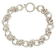 Sterling 7-1/4 Polished & Textured Status Link Bracelet, 17.1g - J280303
