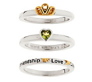 As Is Taras Diary Set of 3 Claddagh Stack Rings - J283603