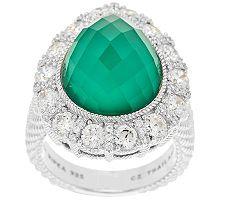 Judith Ripka Green Goddess Doublet and Diamonique Pear Ring