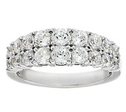 Diamonique 100-Facet Double Row Band Ring, Platinum Clad - J290303