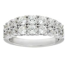Epiphany Diamonique 100-Facet Double Row Band Ring