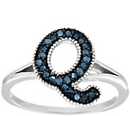 Blue Initial Diamond Ring Sterling, 1/10 cttw by Affinity - J294703