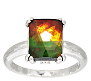 Ammolite Triplet Elongated Cushion Cut Sterling Ring - J295103