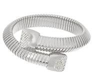 Bronzo Italia Bypass Tubogas Bracelet with Diamonique Endcaps - J296303