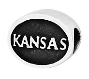 Sterling Silver University of Kansas Bead - J300803