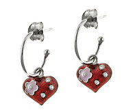 Mixers Sterling Enamel Heart Charm Hoop Earrings - J304703