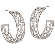 Vicenza Silver Sterling 1 Round Scroll Design Hoop Earrings - J321503
