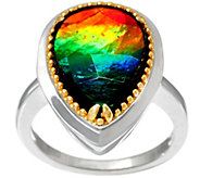 Ammolite Triplet Pear Shaped Sterling/14K Ring - J322303