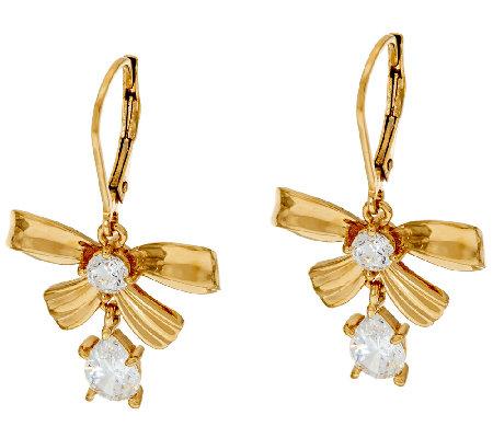 diamonique bow design leverback earrings 14k clad
