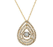 Triple Pear Shaped Halo Dancing Diamond Pendant, 1/2 cttw, Affinity - J324603