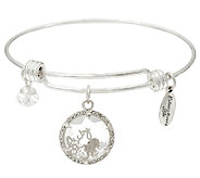 Extraordinary Life Sterling Silver Shaker Motif Charm Bangles - J326003
