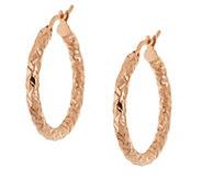 As Is Vicenza Gold 1 Round Diamond Cut Hoop Earrings 14K - J328203