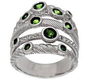 Judith Ripka Sterling Silver Multi-Row 1.00 cttw Gemstone Ring - J328803