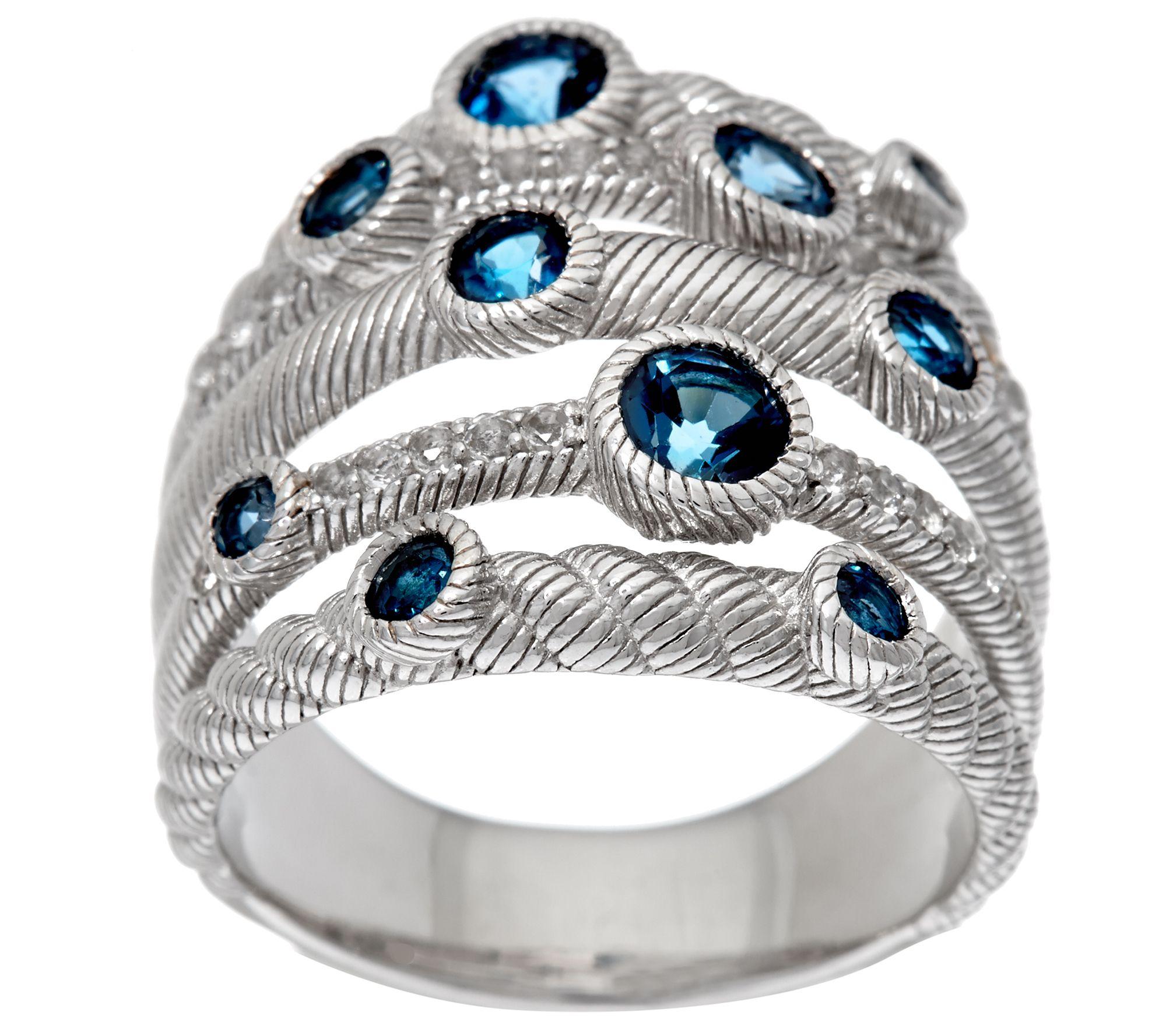 Judith Ripka Sterling Silver Multi Row 1 00 cttw Gemstone Ring