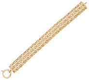 14K Gold 6-3/4 Domed Byzantine Status Bracelet, 8.8g - J329503
