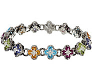 As Is Barbara Bixby Sterling & 18K 8.00 cttw Gemstone Flower 7-1/4 Bracelet - J331203