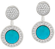 As Is Vicenza Silver Sterling Crystal Stud w/Turquoise Earring Jackets - J332103