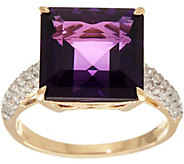 Princess Cut African Amethyst & Diamond Ring 14K, 4.00 ct - J335403