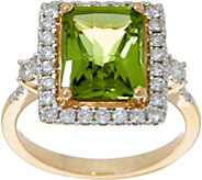 Octagon Cut Peridot & Diamond Ring 14K Gold 3.00 ct - J335803