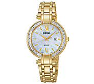Seiko Womens Goldtone Crystal-Accented Bracelet Watch - J337503