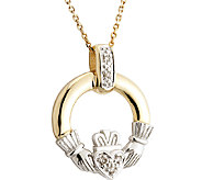 Solvar Diamond Claddagh Pendant w/ Chain, 14K Gold - J338003