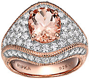 Judith Ripka Sterling/14K Rose Morganite & Diamonique Ring - J338503