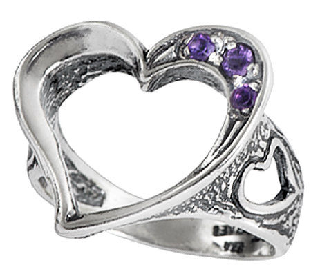 sterling silver open amethyst ring by orpaz qvc