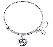 Sterling Expandable USA Charm Bangle by Extraordinary Life - J340603