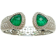 Judith Ripka Sterling Green Chalcedony DoubletTop Hinge Cuff - J340803