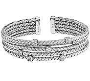 Sterling Crystal Woven Flexible Cuff - J341103