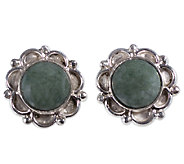 Novica Artisan Crafted Sterling Jade Dahlia Stud Earrings - J341203
