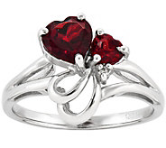 Double Heart Garnet and Diamond Accent Ring, 14K Gold - J342203