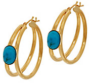 Italian Gold Gemstone Hoop Earrings 14K Gold - J346503