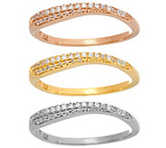 Diamonique Tri-Color Wavy Stack Rings, Sterling - J347103