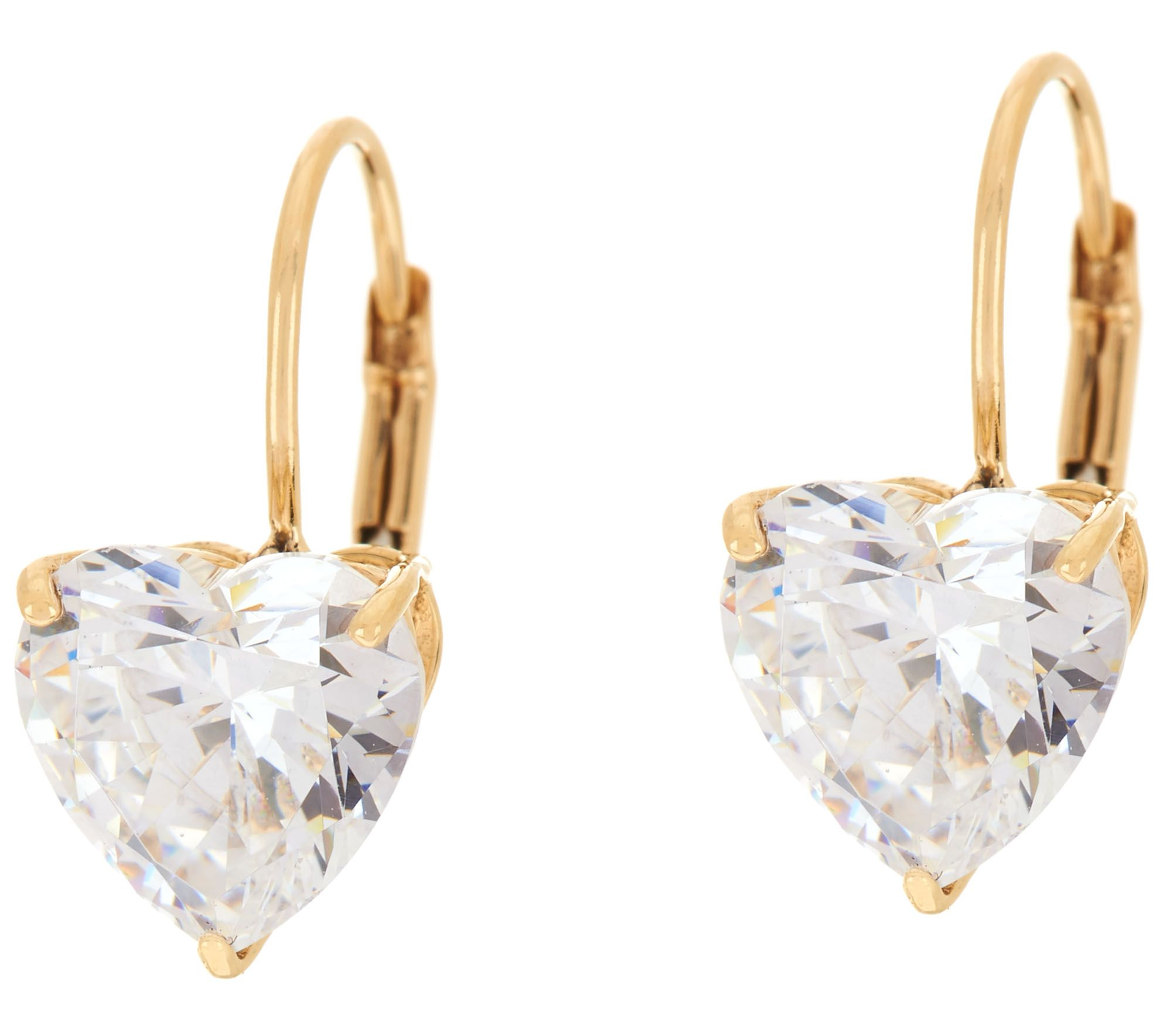 Diamonique 4 00 cttw Heart Leverback Earrings 14K Gold Page 1