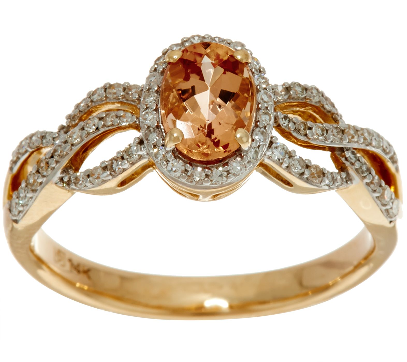 Oval Imperial Topaz & Pave Diamond Ring 14K Gold 0 75 ct Page 1