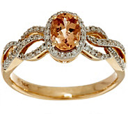 Oval Imperial Topaz & Pave Diamond Ring 14K Gold 0.75 ct - J350103