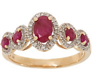 Burmese Ruby 1.00 ct & Diamond 1/6 ct Ring 14K Gold - J350403