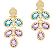 Arte d Oro 11.85 cttw Floral Gemstone Dangle Earrings 18K Gold - J353503