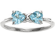 14K White Gold Gemstone Bow Ring - J375303