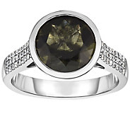 Sterling 2.50 cttw Moldavite & White Zircon Ring - J376003