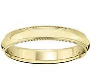 Mens 18K Yellow Gold 4mm Milgrain Wedding Band - J376203