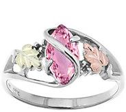 Black Hills Pink Cubic Zirconia Leaf Ring, Sterling/ 12K Gold - J384503