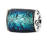 Prerogatives Sterling Blue Dichroic Glass Barrel Bead - J113404