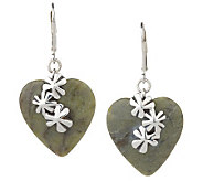 Connemara Marble Sterling Shamrock Heart Earrings - J137604