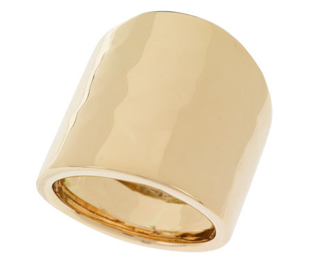 Polished And Hammered Wide Band Ring 14k Gold Band Ring