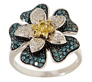 Bold Flower Diamond Ring, Sterling, 1/2 cttw, by Affinity - J265404